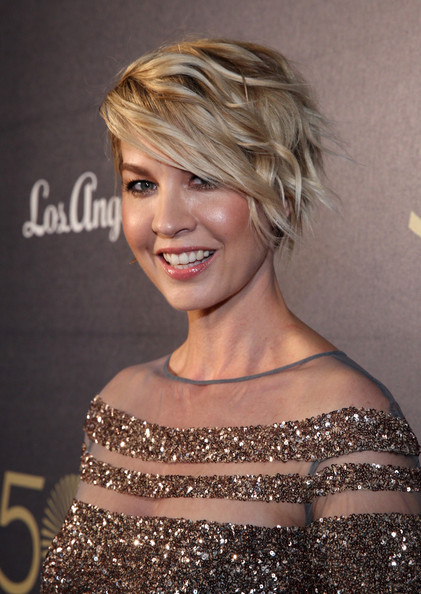 Jenna Elfman Short Wavy Cut [hair,hairstyle,shoulder,face,blond,eyebrow,chin,beauty,joint,hair coloring,50th anniversary spectacular,music center,los angeles,california,jenna elfman]