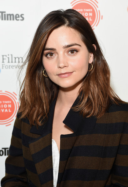 Jenna-Louise Coleman Mid-Length Bob [hair,face,hairstyle,lip,beauty,eyebrow,brown hair,long hair,layered hair,outerwear,england,london,bfi southbank,bfi radio times tv festival,jenna coleman]