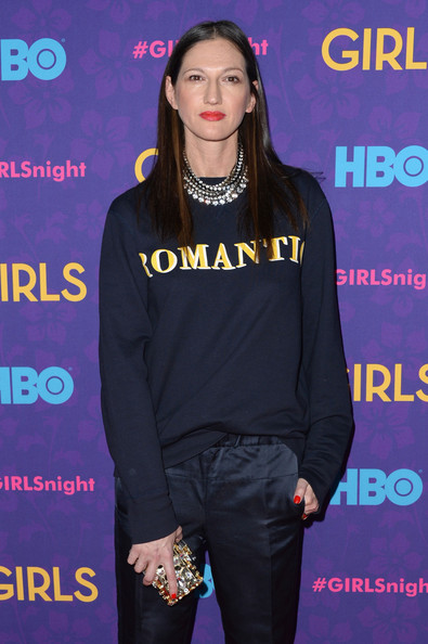 Jenna Lyons Layered Diamond Necklace [season,fashion,shoulder,fashion model,outerwear,flooring,product,t shirt,event,long hair,music artist,girls,designer,director,jenna lyons,new york city,j.crew,premiere event,premiere,season]