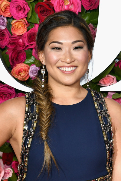 Jenna Ushkowitz Long Braided Hairstyle [red carpet,hair,beauty,hairstyle,fashion accessory,makeover,smile,event,black hair,jewellery,jenna ushkowitz,tony awards,radio city music hall,new york city,annual tony awards]