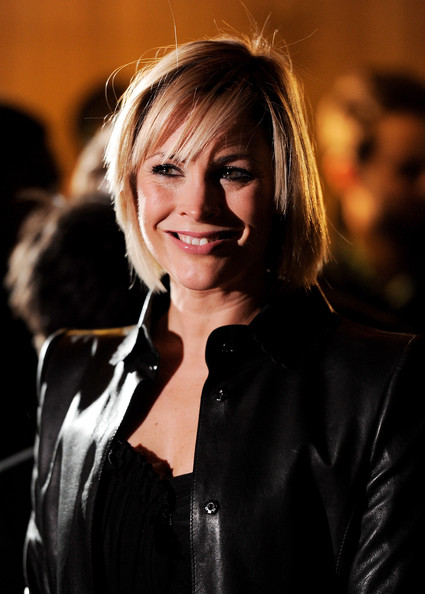Jenni Falconer Bob [hair,face,blond,hairstyle,beauty,smile,jacket,leather,bangs,photography,jenni falconer,arrivals,england,london,royal albert hall,novae,the princes trust rock gala,the princes trust rock gala 2010]