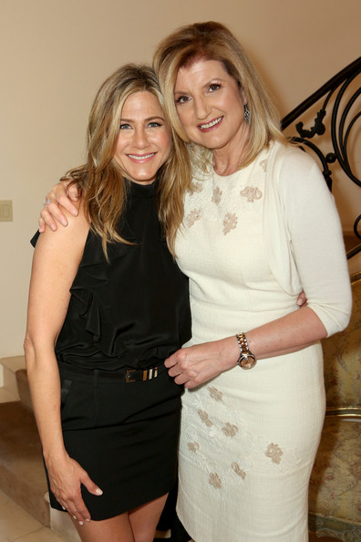 Jennifer Aniston Leather Belt [blond,lady,fashion,dress,little black dress,cocktail dress,leg,shoulder,event,long hair,jennifer aniston,arianna huffington,arianna huffington hosts special lunch at home,cake,home,california,los angeles,l,lunch]