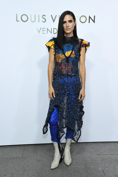 Jennifer Connelly Ankle Boots [clothing,fashion model,fashion,cobalt blue,blue,fashion show,fashion design,electric blue,runway,shoulder,louis vuitton,jennifer connelly,part,louis vuitton boutique,paris,france,paris fashion week womenswear spring,place vendome,boutique opening,opening]