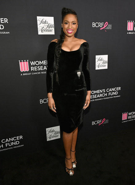 Jennifer Hudson Strappy Sandals [clothing,dress,little black dress,cocktail dress,fashion,shoulder,fashion model,carpet,footwear,premiere,wcrf,red carpet,jennifer hudson,an unforgettable evening,saks fifth avenue,beverly hills,california]