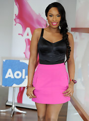 Jennifer Hudson preformed at AOL studios rockin' one of the hottest hairstyles for spring. Her side swept textured braid gave her color-blocked look a relaxed feel.