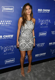 Nicole Scherzinger dazzled at the 'Jennifer Lopez: All I Have' after-party in a geometric-sequined mini dress.