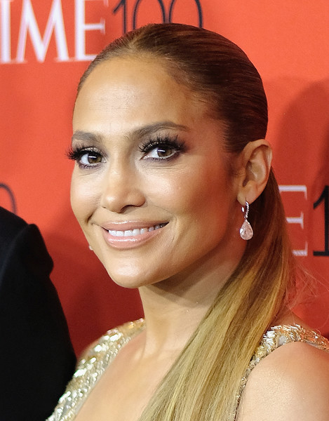 Jennifer Lopez Dangling Diamond Earrings [red carpet,hair,eyebrow,face,hairstyle,beauty,eyelash,chin,lip,ear,forehead,jennifer lopez,time 100,jazz,new york city,lincoln center]