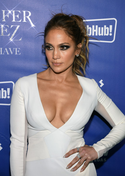 Jennifer Lopez Glitter Nail Polish [all i have,all i have,hairstyle,shoulder,lip,premiere,eyelash,electric blue,dress,cocktail dress,neck,brown hair,jennifer lopez,chow,residency,las vegas,caesars palace,party,party,grand opening]