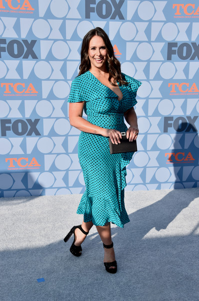 Jennifer Love Hewitt Buckled Clutch [clothing,blue,pattern,turquoise,fashion,dress,lady,footwear,fashion design,all-star party - arrivals,jennifer love hewitt,california,los angeles,fox summer tca,fox studios,all-star party]