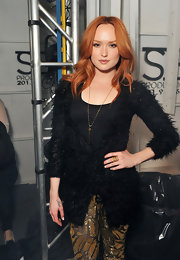 Kaylee Defer wore a rebel pendant necklace at the Jenny Packham fall 2012 fashion show.