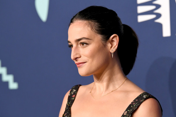 Jenny Slate Geommetric Earrings [hair,face,hairstyle,eyebrow,skin,chin,beauty,cheek,shoulder,forehead,arrivals,jenny slate,new york city,annual webby awards]