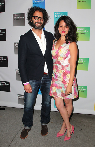 Jenny Slate Print Dress [young literati of the library foundation,fashion,event,leg,thigh,premiere,fashion design,suit,style,formal wear,performance,jenny slate,jason mantzoukas,toast,los angeles,the line hotel,california,young literati of the library foundation of los angeles,l]