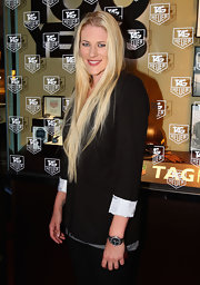 Lauren's long blond locks cascaded over her blazer at the Tag Heuer fete.