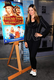Mira Sorvino went for a classic look with a black pantsuit at the premiere of 'Jeremy Fink and the Meaning of Life.'