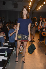 Hanneli Mustaparta was dressed down in a plain blue tee and an embroidered mini at the Jeremy Laing fashion show.