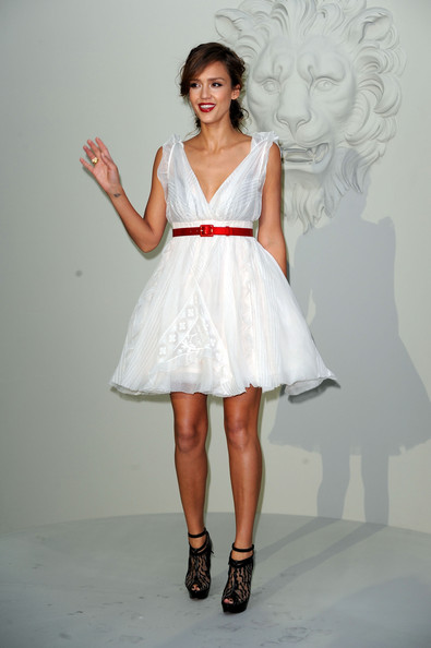 Jessica Alba Ankle Boots [clothing,fashion model,white,dress,cocktail dress,shoulder,fashion,waist,bridal party dress,beauty,haute couture f,jessica alba,chanel - outside,pfw,part,grand palais,paris,chanel,show,paris haute couture fashion week fall]