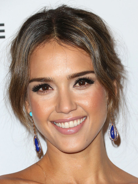Jessica Alba Dangling Gemstone Earrings [face,hair,eyebrow,hairstyle,chin,lip,forehead,skin,nose,beauty,jessica alba,book bindery,culver city,california,second annual baby2baby gala - arrivals,second annual baby2baby gala]