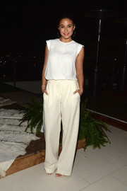 Emmanuelle Chriqui kept it fuss-free in a loose white blouse during the launch of the #letsbehonest campaign.