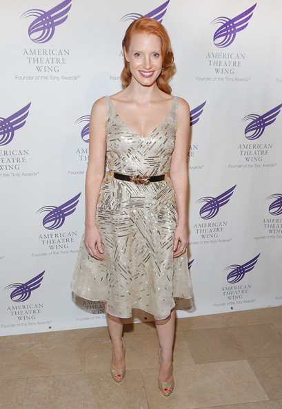 Jessica Chastain Beaded Dress [clothing,dress,cocktail dress,hairstyle,shoulder,fashion,joint,fashion design,fashion model,eyelash,jessica chastain,new york city,the plaza hotel,american theatre wing,the american theatre wing,gala]