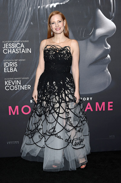 Jessica Chastain Embroidered Dress [mollys game,dress,clothing,cocktail dress,shoulder,fashion,gown,premiere,strapless dress,fashion model,a-line,jessica chastain,new york,amc loews lincoln square,new york premiere]