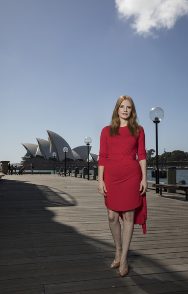 Jessica Chastain Fishtail Dress [pink,lady,fashion,standing,dress,photography,vacation,leg,photo shoot,tourism,jessica chastain,molly,photo call,broadwalk,hotel,australia,sydney,park hyatt,game,photo call]