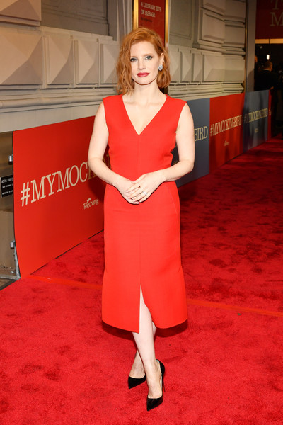 Jessica Chastain Midi Dress [red carpet,carpet,red,clothing,flooring,dress,shoulder,premiere,blond,leg,to kill a mocking bird,broadway,new york city,shubert theatre,jessica chastain]