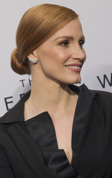 Jessica Chastain Diamond Studs [the zookeepers wife,hair,hairstyle,chin,blond,eyebrow,white-collar worker,long hair,brown hair,dress,little black dress,jessica chastain,united states holocaust memorial museum,washington dc screening]