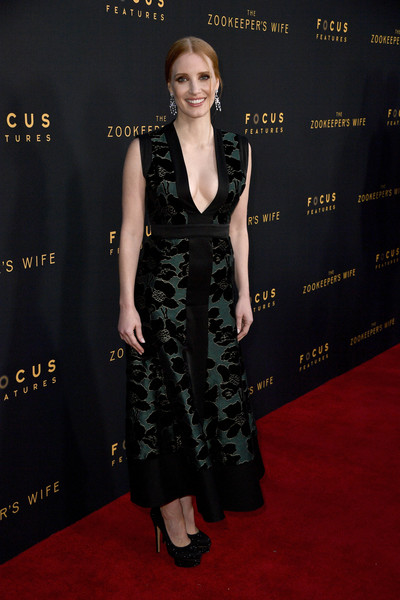Jessica Chastain Platform Pumps [the zookeepers wife,red carpet,clothing,carpet,dress,premiere,flooring,fashion,cocktail dress,little black dress,event,arrivals,jessica chastain,actor,arclight hollywood,california,focus features,premiere,premiere]