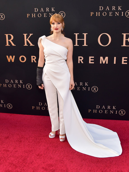 Jessica Chastain Platform Sandals [dress,clothing,red carpet,gown,fashion model,shoulder,carpet,flooring,strapless dress,fashion,arrivals,jessica chastain,dark phoenix,california,hollywood,tcl chinese theatre,20th century fox,premiere,premiere]