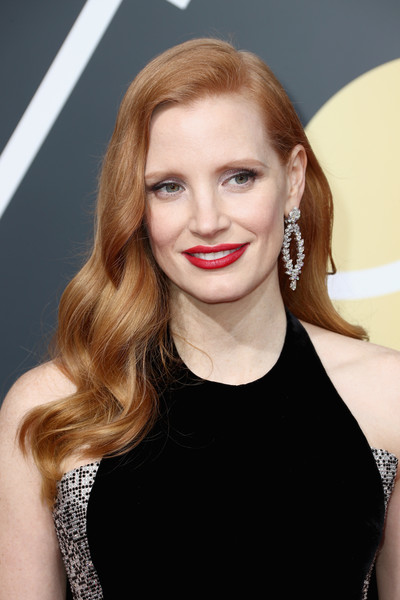 Jessica Chastain Diamond Hoops [hair,eyebrow,beauty,human hair color,hairstyle,blond,fashion model,lip,long hair,chin,arrivals,jessica chastain,the beverly hilton hotel,beverly hills,california,golden globe awards,the 75th annual golden globe awards]