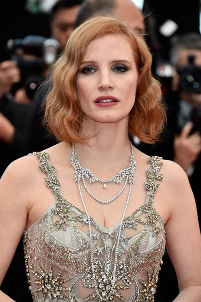 Jessica Chastain Layered Diamond Necklace [hair,face,hairstyle,blond,eyebrow,beauty,fashion,fashion model,long hair,shoulder,red carpet arrivals,jessica chastain,money monster,cannes,france,cannes film festival,premiere,palais des festivals]