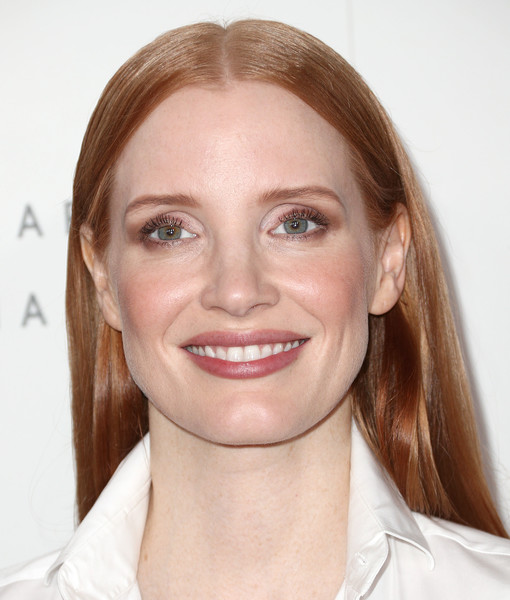 Jessica Chastain Long Straight Cut [face,hair,eyebrow,lip,skin,facial expression,hairstyle,chin,head,cheek,24th annual women in hollywood celebration - arrivals,jessica chastain,los angeles,four seasons hotel,california,beverly hills,elle,24th annual women in hollywood celebration]