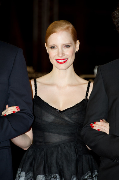 Jessica Chastain Red Nail Polish [hair,hairstyle,lip,fashion,beauty,dress,fashion model,haute couture,blond,formal wear,marrakech,morocco,marrakech international film festival,ceremony,marrakech international film festival 2011 opening ceremony,jessica chastain]