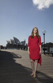 Jessica Chastain looked simply lovely in a red high-low dress by Preen at the 'Molly's Game' photocall in Sydney.