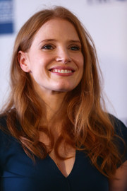 Jessica Chastain was fresh-faced wearing a casual wavy 'do and minimal makeup as she gave a speech to students.