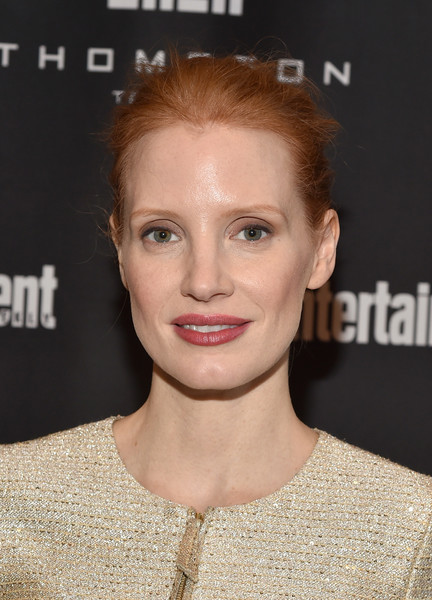 Jessica Chastain Messy Updo [hair,face,hairstyle,eyebrow,lip,skin,chin,beauty,forehead,premiere,jessica chastain,must list party,thompson hotel,toronto,canada,entertainment weekly,entertainment weeklys must list party,toronto international film festival]