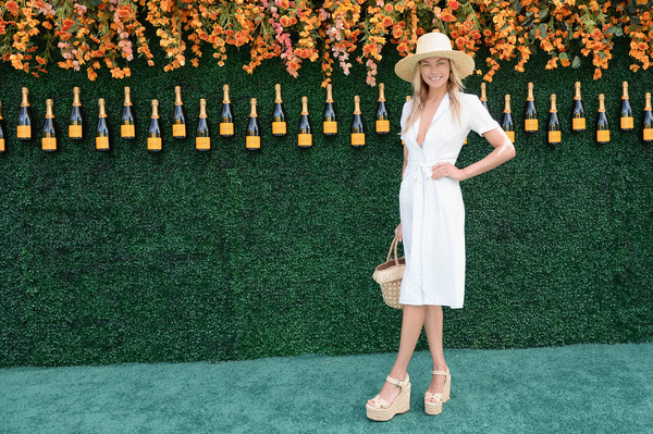 Jessica Hart Wedges [green,clothing,dress,fashion,yellow,carpet,red carpet,flooring,footwear,blond,arrivals,jessica hart,jersey city,new jersey,liberty state park,veuve clicquot polo classic]