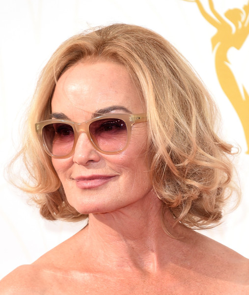 Jessica Lange Curled Out Bob [eyewear,hair,face,blond,hairstyle,glasses,sunglasses,chin,eyebrow,skin,arrivals,jessica lange,microsoft theater,los angeles,california,primetime emmy awards]