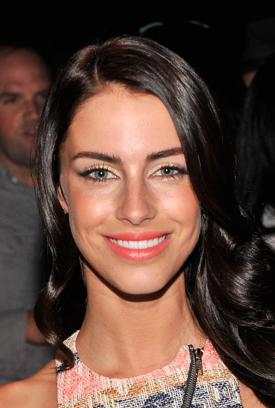 Jessica Lowndes Metallic Eyeshadow [music,hair,face,eyebrow,hairstyle,lip,chin,beauty,cheek,brown hair,black hair,rebecca minkoff spring 2014 runway show,jessica lowndes,janelle monae,american express unstaged,collaboration,front row,the theatre,lincoln center,new york city]