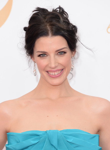 Jessica Pare Messy Updo [hair,beauty,hairstyle,human hair color,eyebrow,shoulder,long hair,chin,fashion model,forehead,arrivals,jessica pare,california,los angeles,nokia theatre l.a. live,primetime emmy awards]