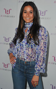 Actress Emmanuelle Chriqui wore an Albion ring in 18-karat yellow gold citrine and pave diamond to the 'JustFabulous' launch party.