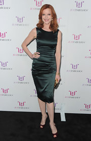 Marcia Cross accented her emerald shift with merlot patent peep toes.