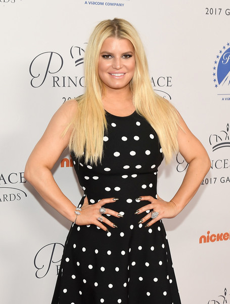 Jessica Simpson Statement Ring [hair,clothing,dress,blond,polka dot,hairstyle,pattern,long hair,cocktail dress,design,stephen hillenberg,jessica simpson,tribute,california,hollywood,princess grace awards,paramount studios,special tribute event,kick off event]