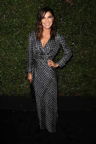 Jessica Szohr Wrap Dress [the 2016 women in film max mara face,the 2016 women in film max mara face of the future,clothing,dress,fashion,formal wear,outerwear,long hair,cocktail dress,suit,black-and-white,pattern,arrivals,max mara celebrates natalie dormer,jessica szohr,chateau marmont,los angeles,california]