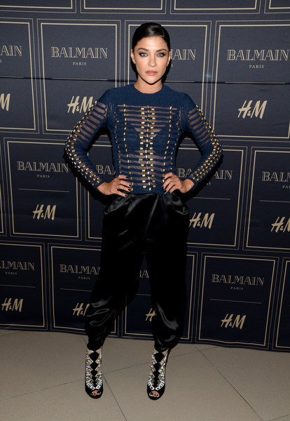 Jessica Szohr Harem Pants [clothing,fashion,footwear,fashion design,leather,dress,haute couture,fashion model,flooring,shoe,jessica szohr,vip pre-launch,balmain,los angeles,west hollywood,california,h m]