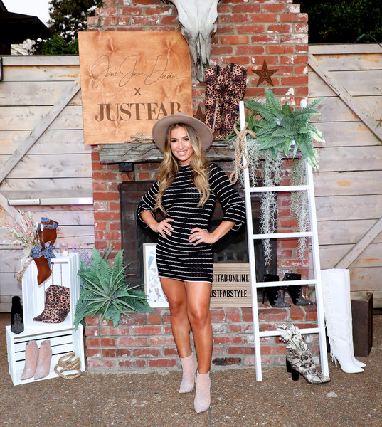 Jessie James Decker Mini Dress [fashion,beauty,lady,footwear,street fashion,leg,dress,photography,shoe,outerwear,jessie james decker,nashville,tennessee,urban cowboy public house,justfab,launch event]
