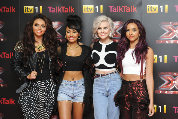 Jesy Nelson Leather Jacket [the x factor,event,talent show,performance,premiere,style,red carpet arrivals,jesy nelson,leigh-anne pinnock perrie edwards,jade thirlwall,l-r,corinthia hotel london,england,little mix,conference]