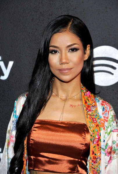 Jhene Aiko Long Side Part [hair,hairstyle,eyebrow,black hair,beauty,long hair,fashion,lip,fashion model,eyelash,spotify,jhene aiko,nominees,best new artist,los angeles,california,belasco theatre,nominees celebration]