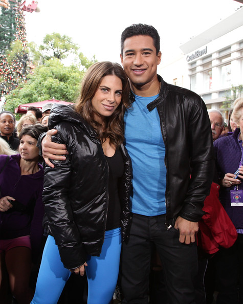 Jillian Michaels Down Jacket [celebrities,extra,jillian michaels,mario lopez,jacket,leather jacket,people,leather,fashion,textile,event,outerwear,top,electric blue,the grove,los angeles,california,l]