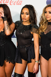 Leigh-Anne Pinnock showed off her figure at the Jingle Bell Ball in a striped bodysuit with epaulets and peplum detailing.